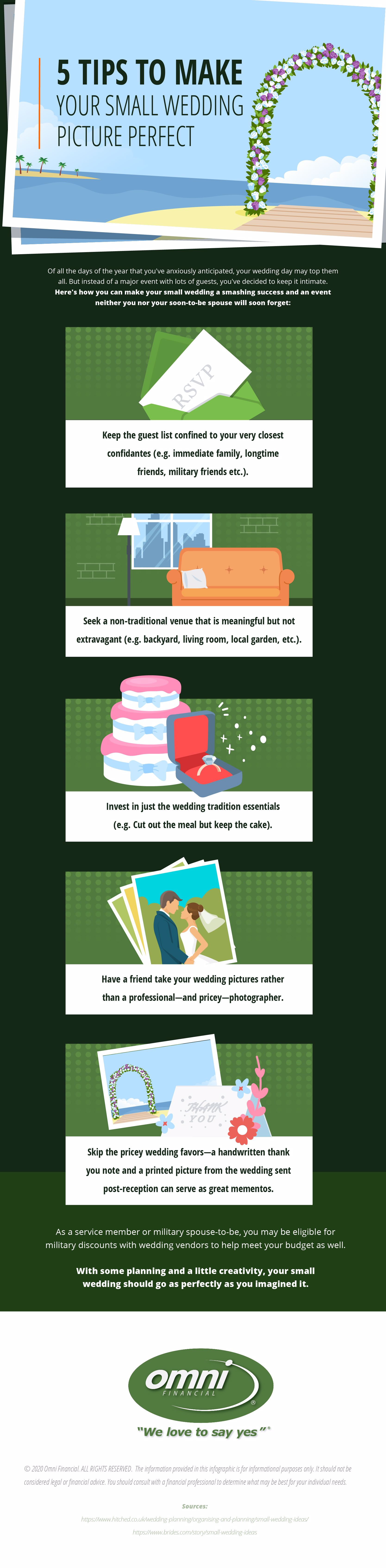 Infographic with tips on how to make a small wedding special