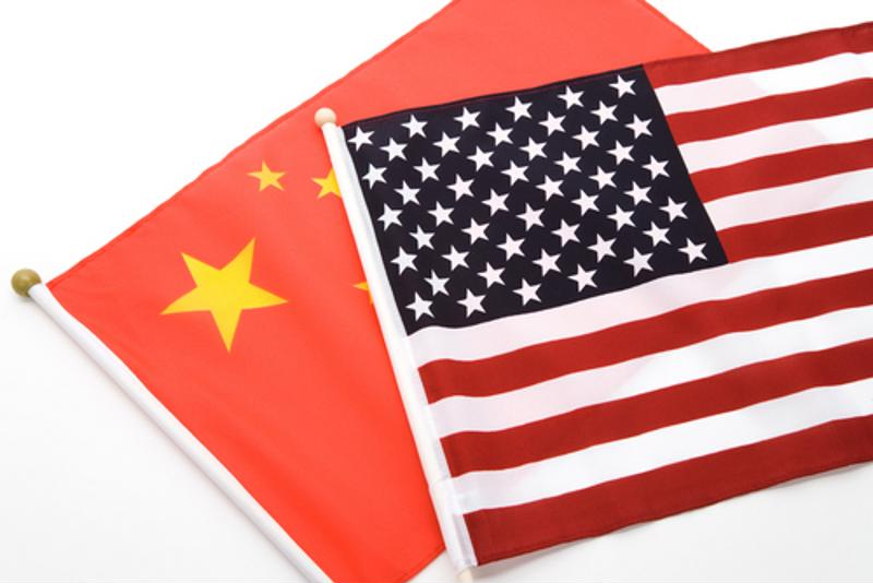 U.S. flag and Chinese flag.