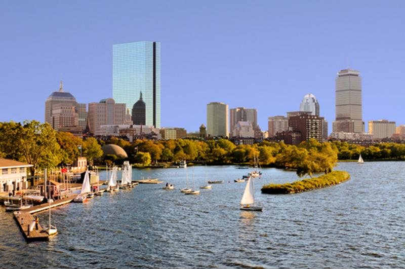 Enjoy views of the city while dining in Boston.