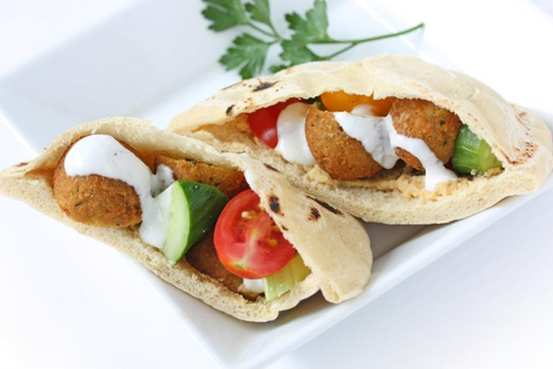 Tucked into a pita with fresh tomatoes and cucumbers, this falafel dish gives a great crunch.