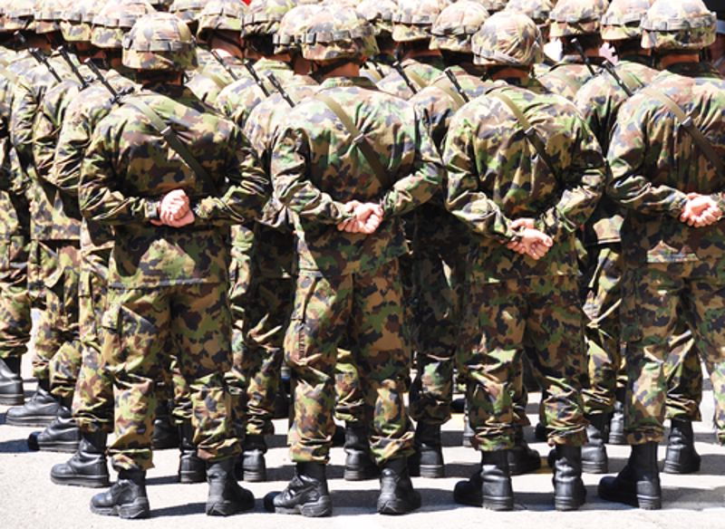 A body of soldiers stands in formation.