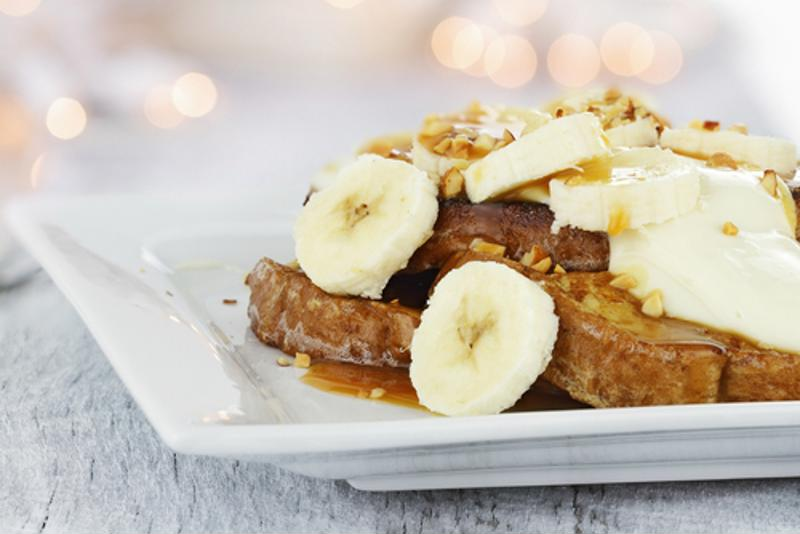 Instead of apples, you can add bananas to your french toast casserole.