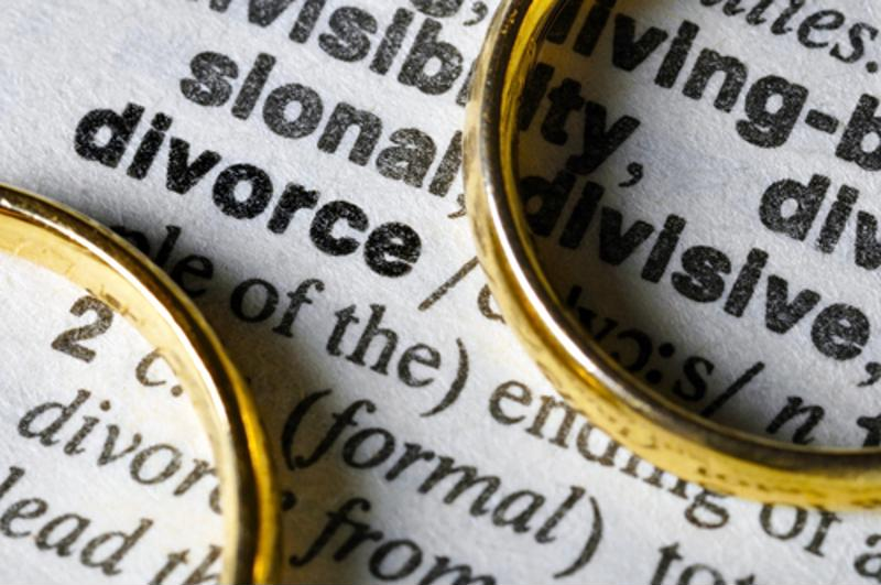 "Wedding rings flanking the word ""Divorce"" in a dictionary."