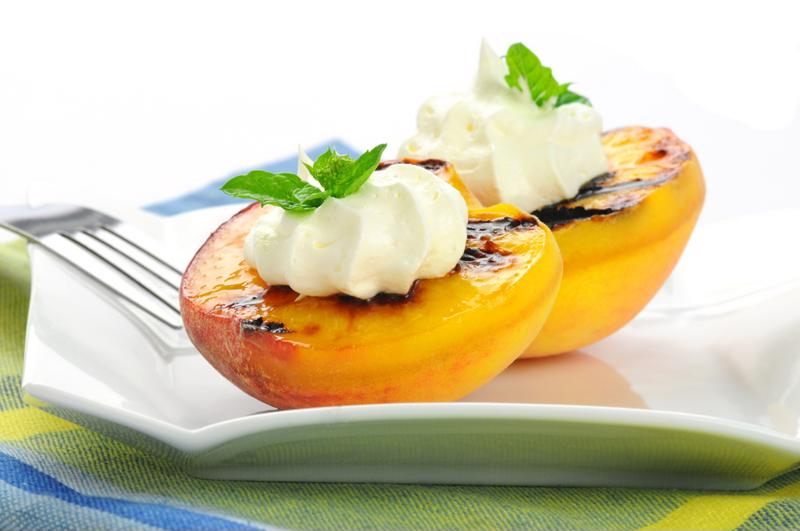 Grilled peaches bring out the sweetness.