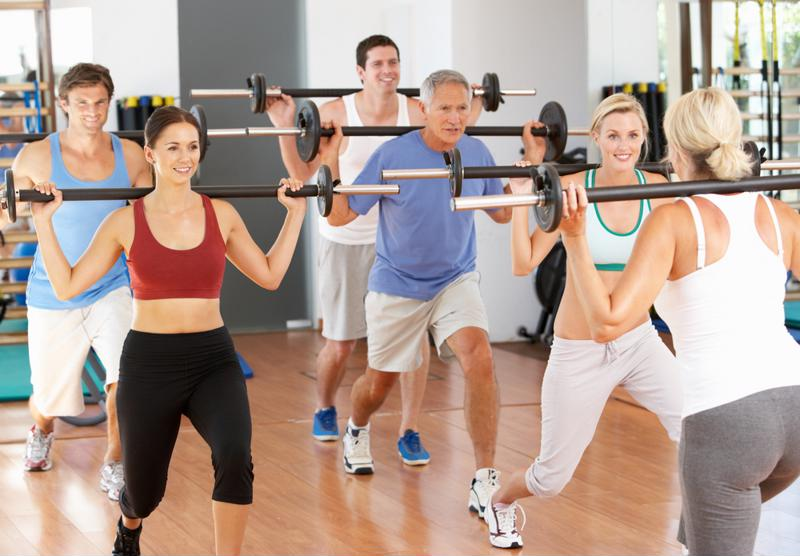 A group of adults working out together