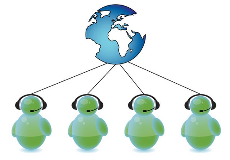A graphic of customer sales representatives and a globe.