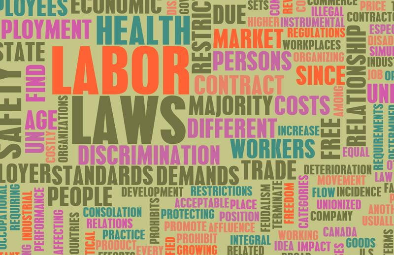 "A word cloud around ""labor laws."""