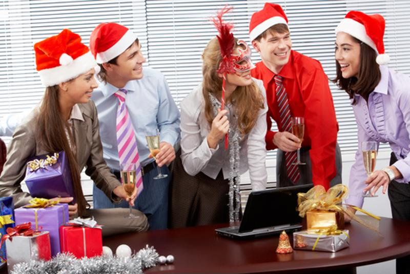 happy business people celebrating holidays