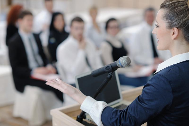 Giving a presentation at a trade show can boost your publicity.