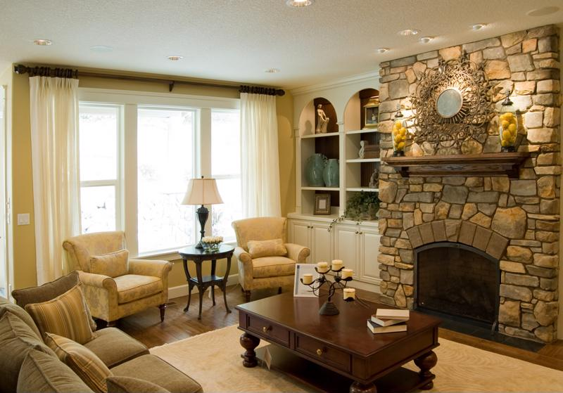 Manufactured stone veneer always looks great around the fireplace.