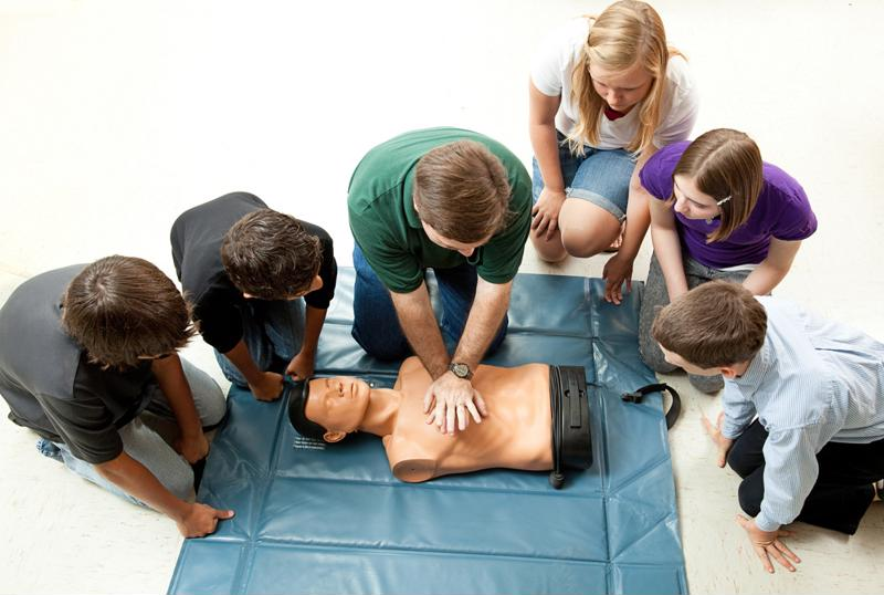 CPR training group.