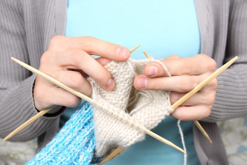 Close-up shot of knitting project.