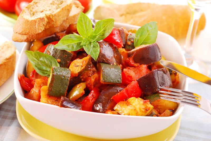 Slow cooked ratatouille is perfect for pot-lucks or as a side dish.