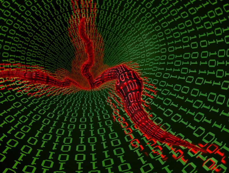 Graphic rendering of computer worm with red worm-shaped tendrils snaking their way through layers of green binary code