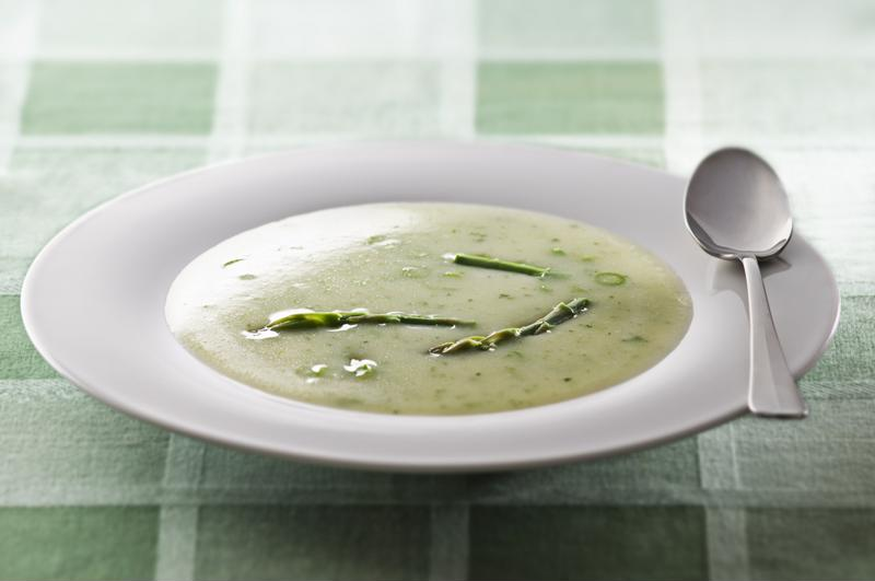 Garnish your soup with the reserved asparagus tips.