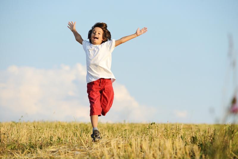 kid running outside