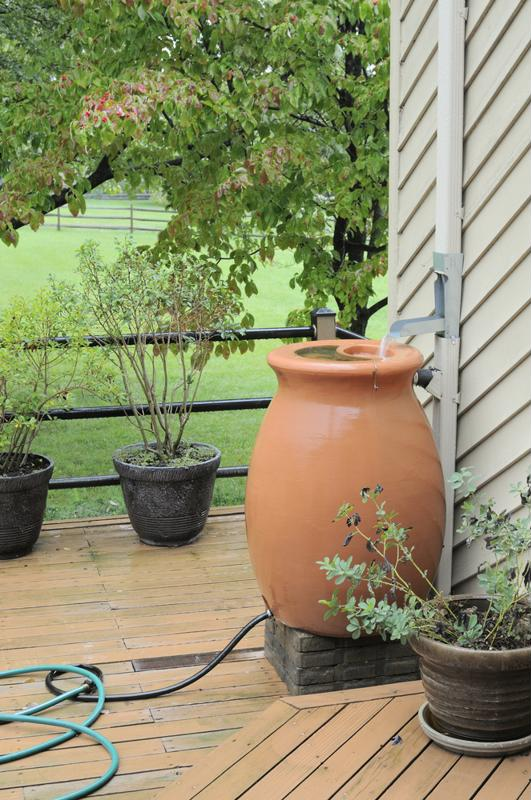 A rain barrel is easy to install.