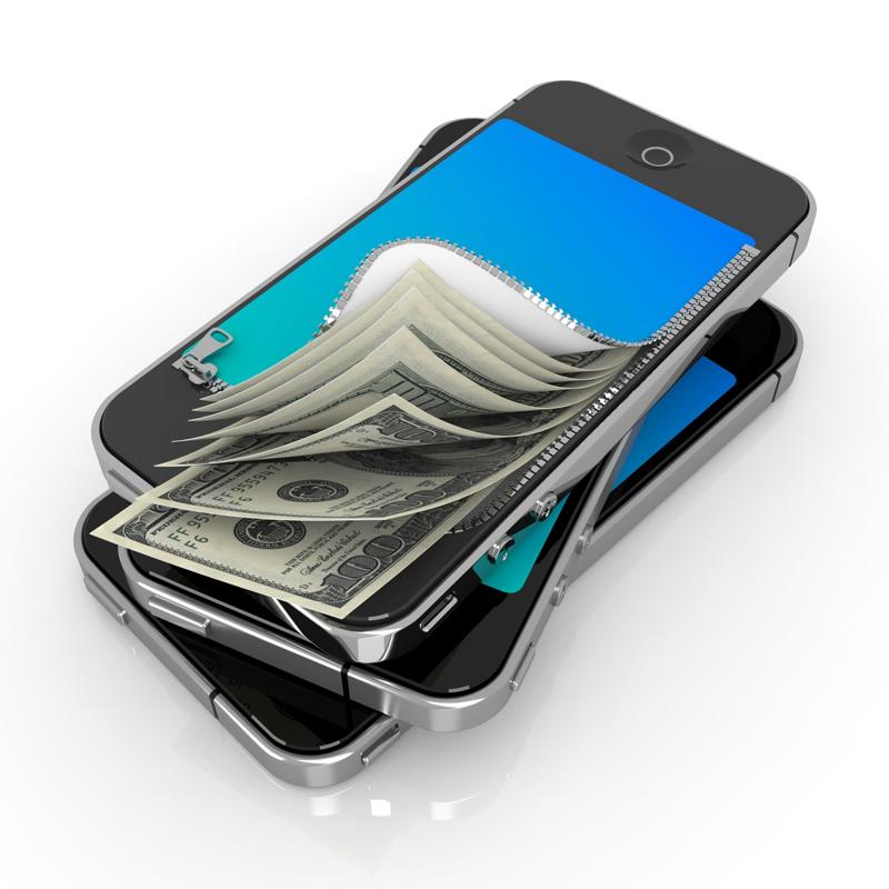 A smartphone combined with dollar bills.