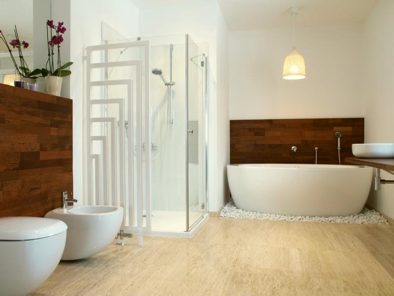 Bathrooms are ideal rooms for vinyl flooring patterns.
