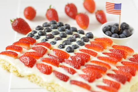 Decorate this dessert to resemble the American flag.