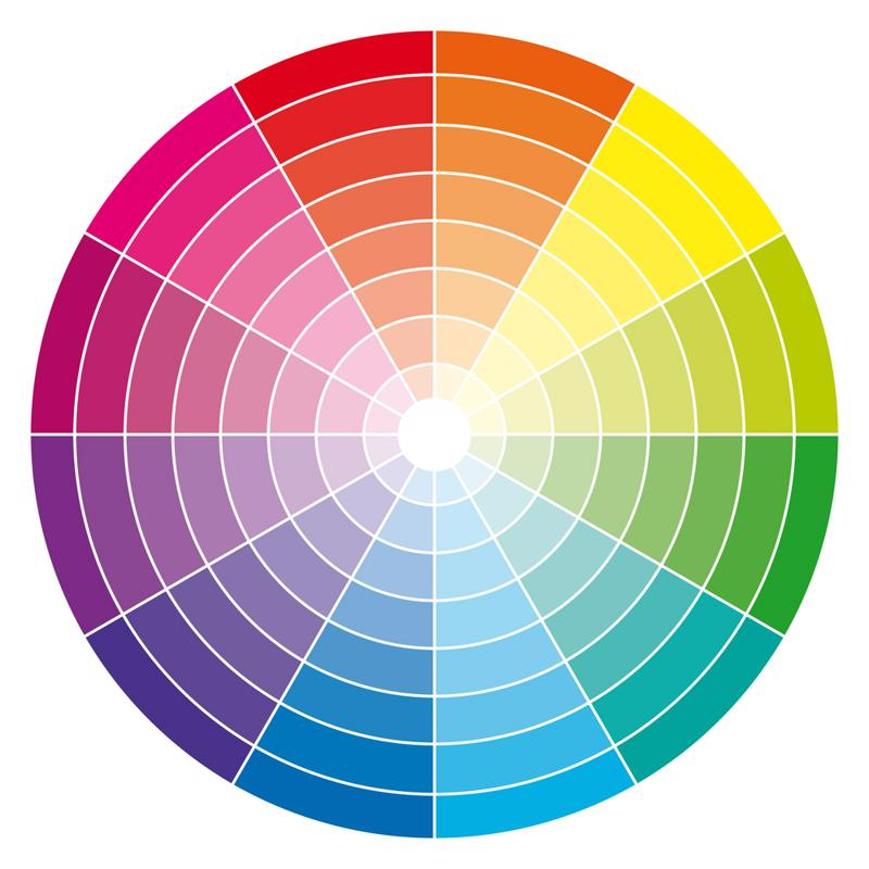 The 12-tone color wheel will help you color block.