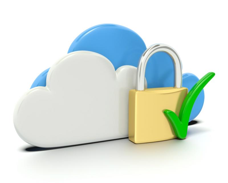 Cloud icons next to gold lock and green check mark.