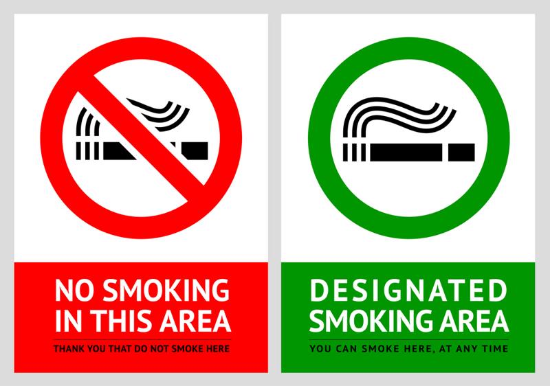 Look for signs indicating if you're in a smoke-free zone.