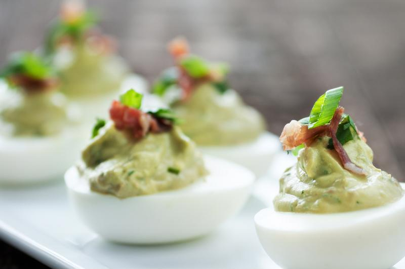 Image of deviled eggs with avocado.