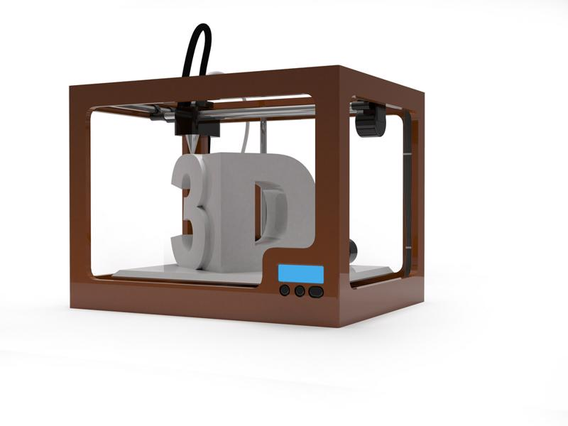 A rendering of a 3D printer.