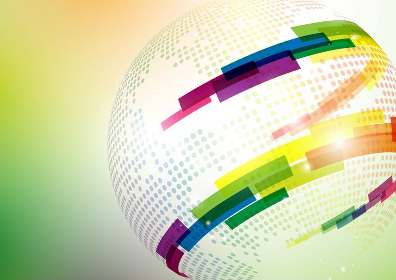 Data moves around a digital globe.