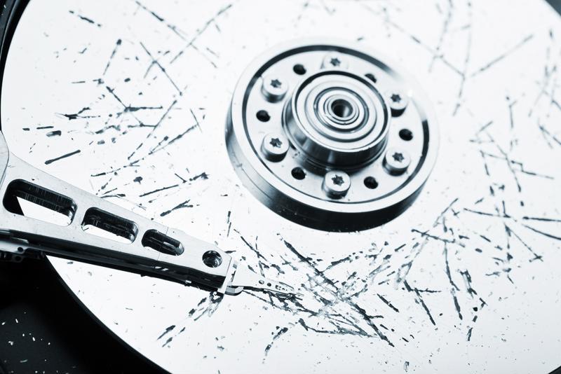 Damaged data backup disk.