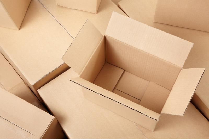 An array of cardboard boxes.
