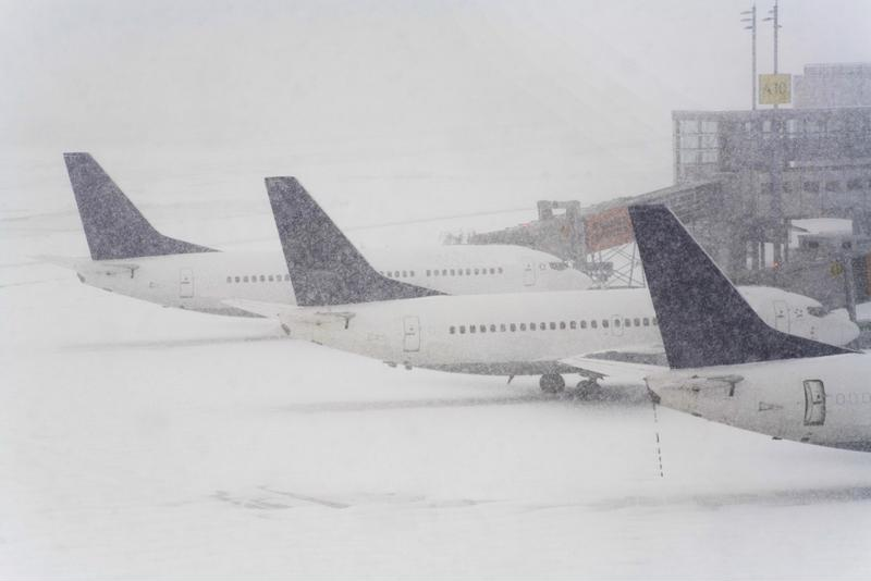 A snowy airport scene.