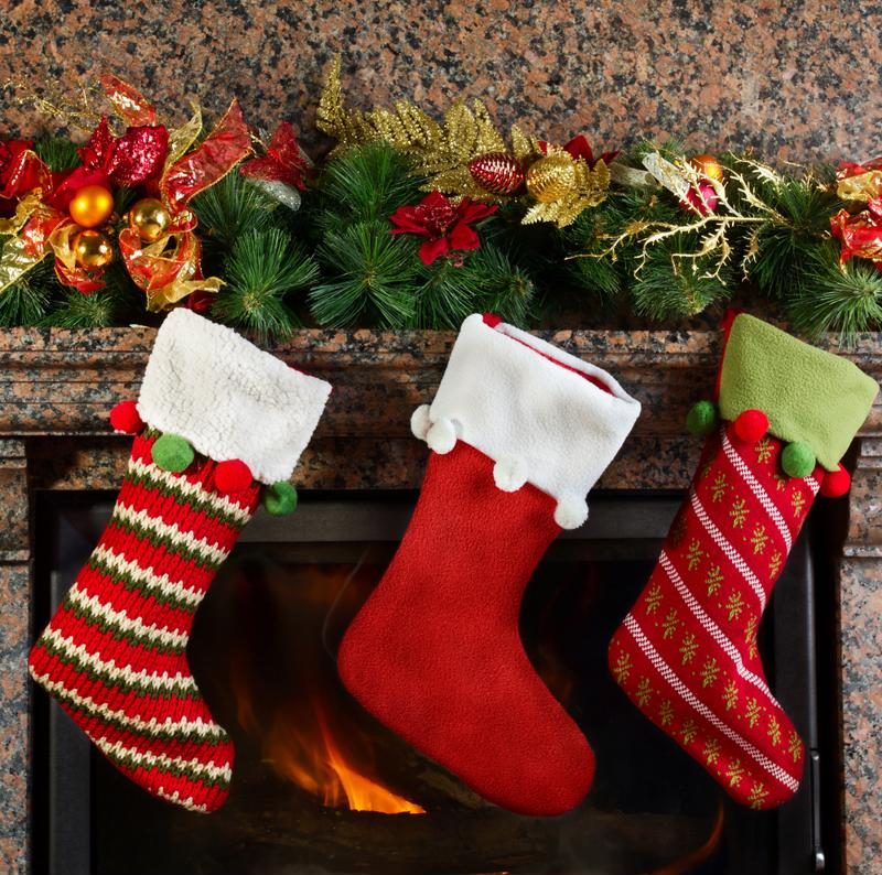 Stockings hanging on a mantle.