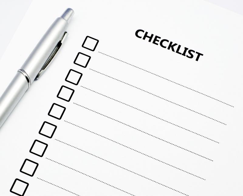 A checklist, left blank.