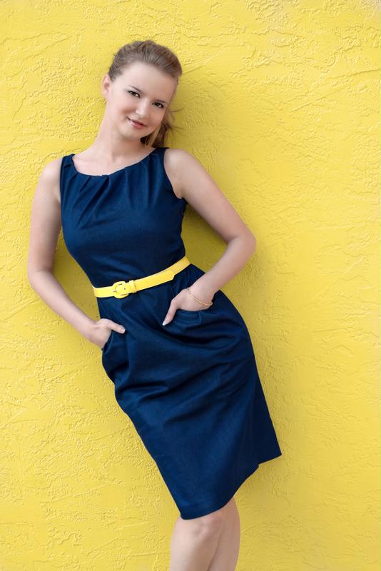 Spice up a plain dress with a pop of color.
