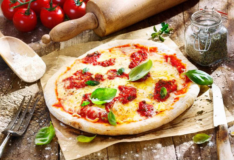 Picture of a margherita-style pizza.