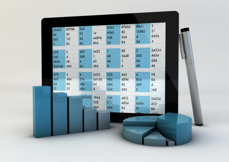 Data displayed on a tablet screen.