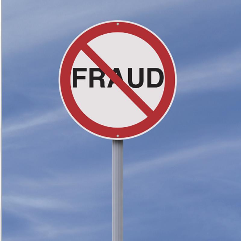 "Sign with a cross through the word ""fraud."""