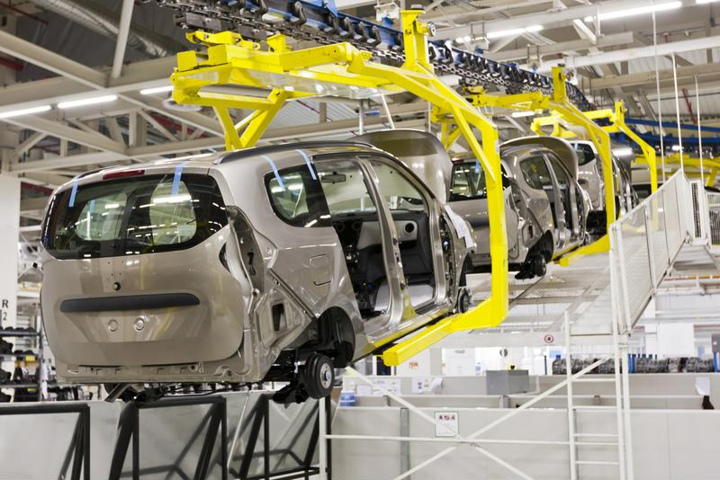 Robotic automotive production line.