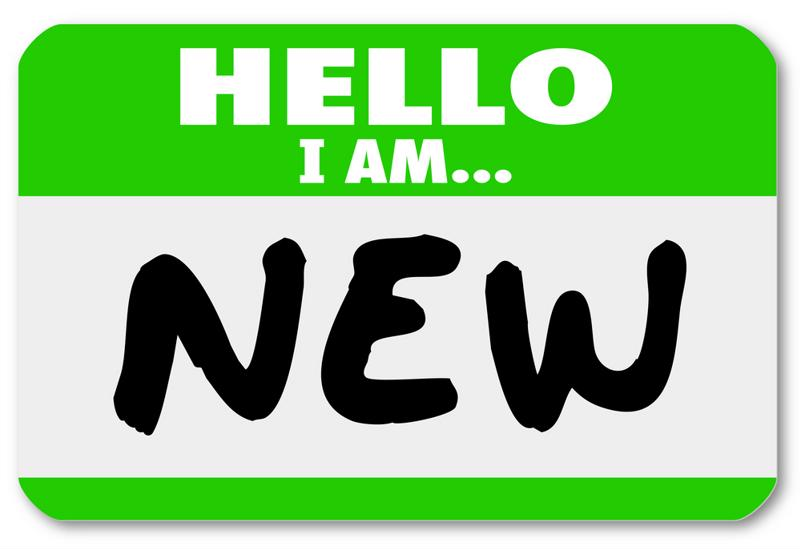 """""""Hello I am"""" name tag with the word """"NEW."""""""