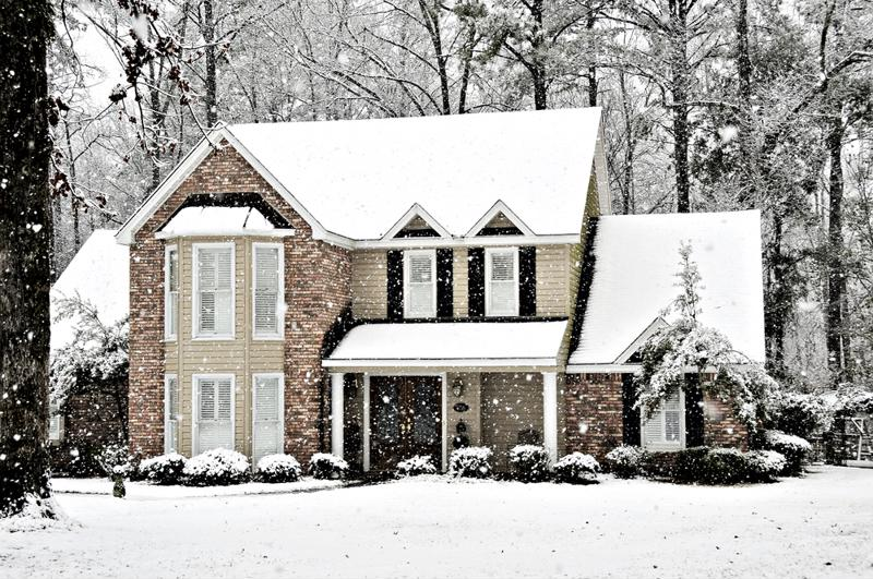 A residential home in the snow