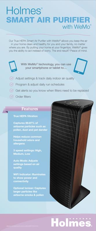 Keep your home at your fingertips with the Holmes  Smart Air Purifier with WeMo