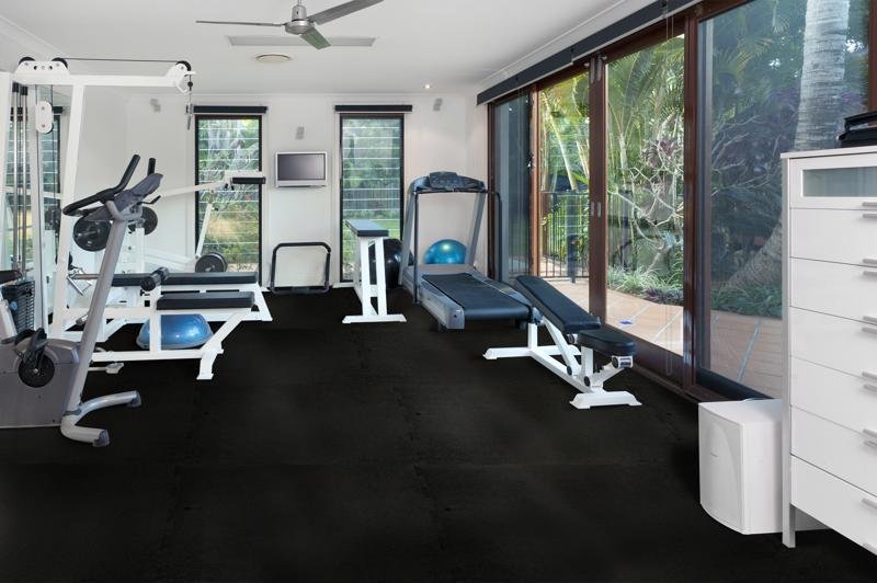 Rubber flooring always pairs well with your at-home gym.