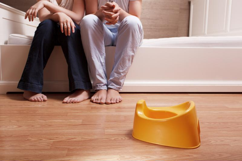 A small potty can be easily moved around the house.