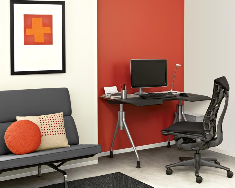 The Herman Miller Envelop desk is height adjustable and promotes healthy posture.