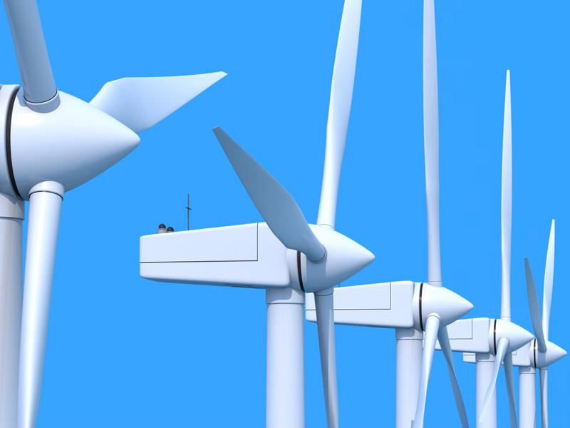 Wind energy is generated by turbines that help to convert the wind's kinetic energy into electricity.