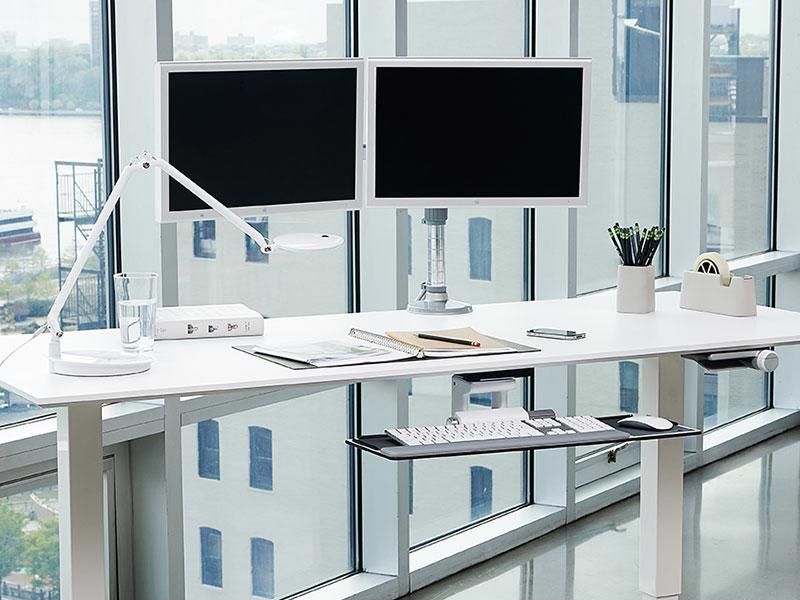 The Humanscale M/Flex multi-monitor arm system can promote good posture in the workplace.