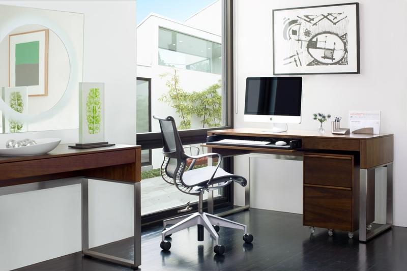 The BDI Cascadia Mobile File Cabinet fits nicely under a desk or can be used as a printer stand.