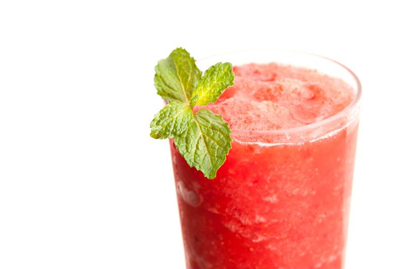 Use strawberries in the margarita and as garnishes.